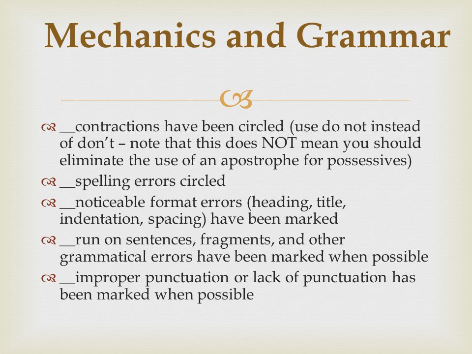 Mechanics and Grammar