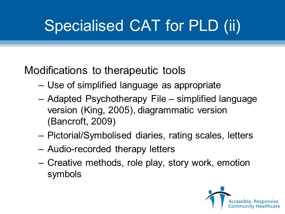 Specialised CAT for PLD (ii)