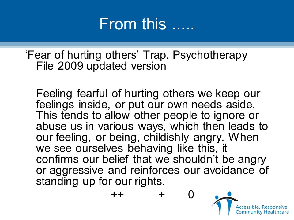 From this ..... 'Fear of hurting others' Trap, Psychotherapy File 2009 updated version.