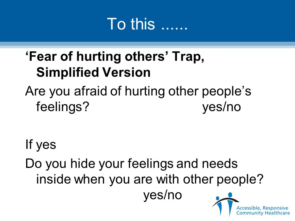 To this ...... 'Fear of hurting others' Trap, Simplified Version