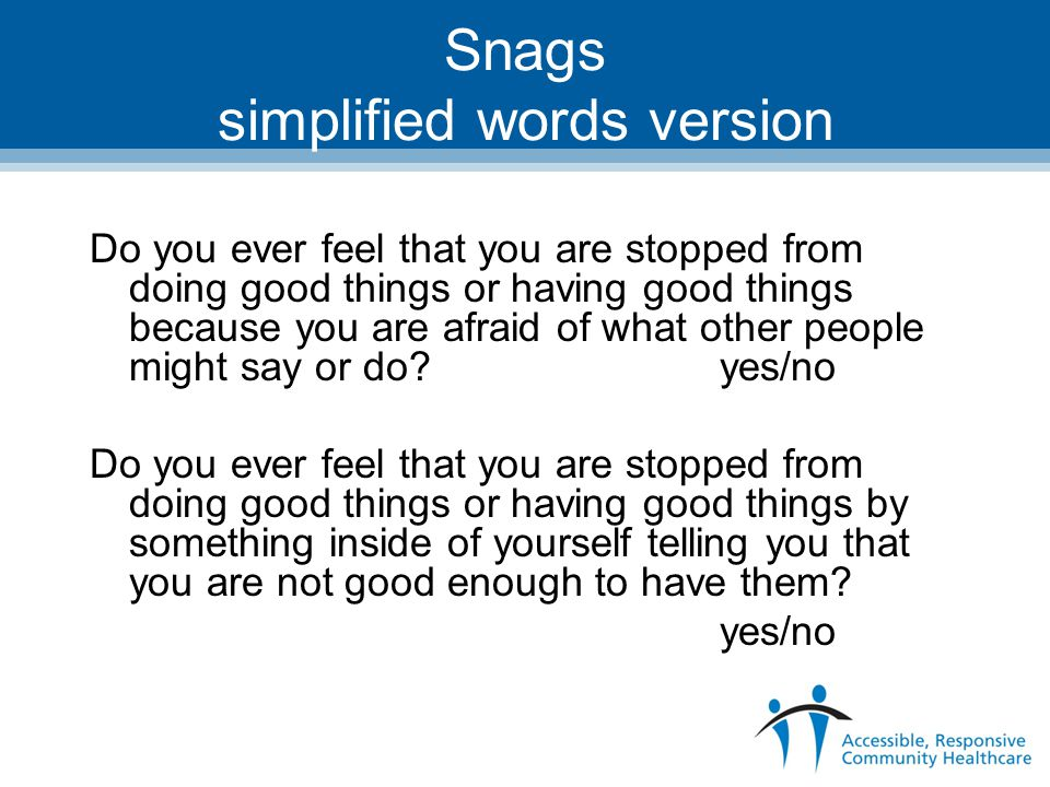 Snags simplified words version