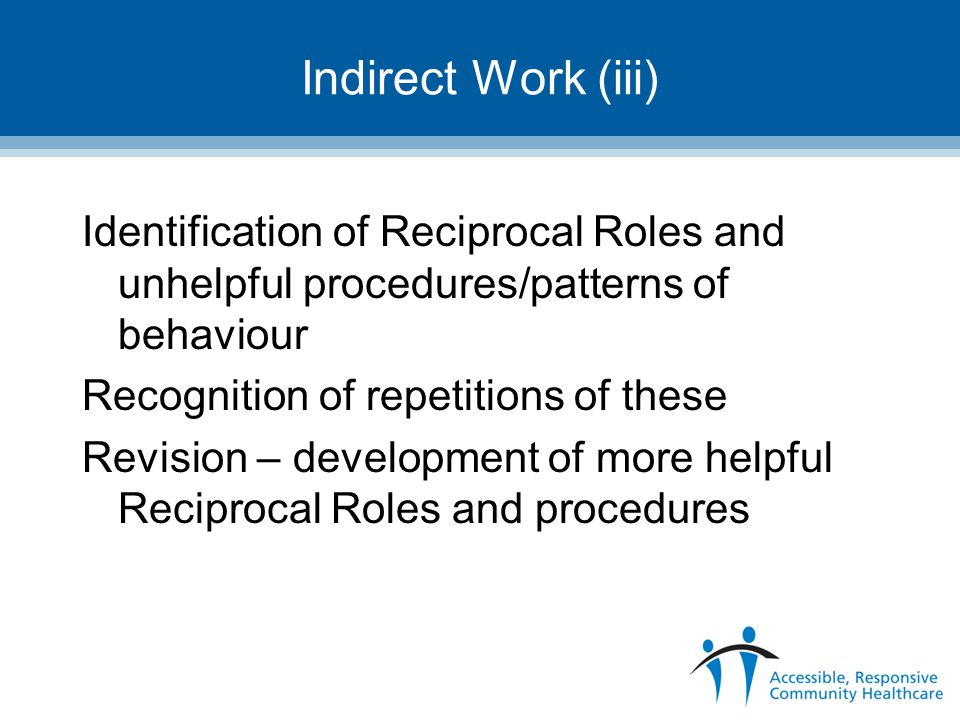 Indirect Work (iii) Identification of Reciprocal Roles and unhelpful procedures/patterns of behaviour.