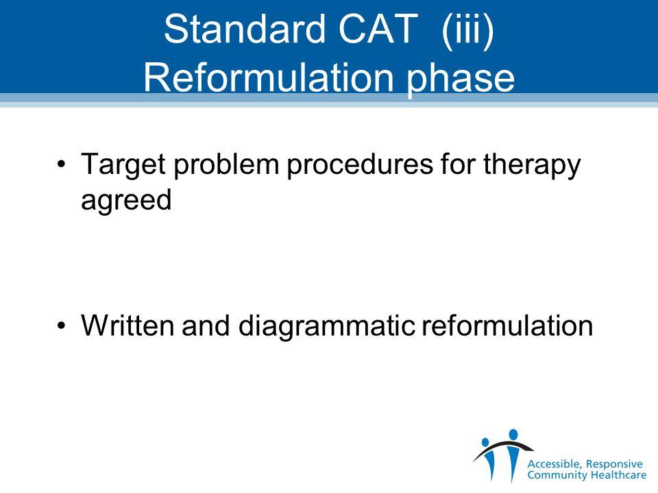 Standard CAT (iii) Reformulation phase
