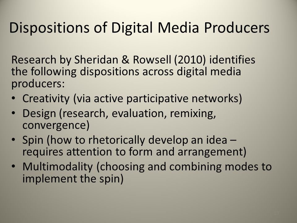 Dispositions of Digital Media Producers
