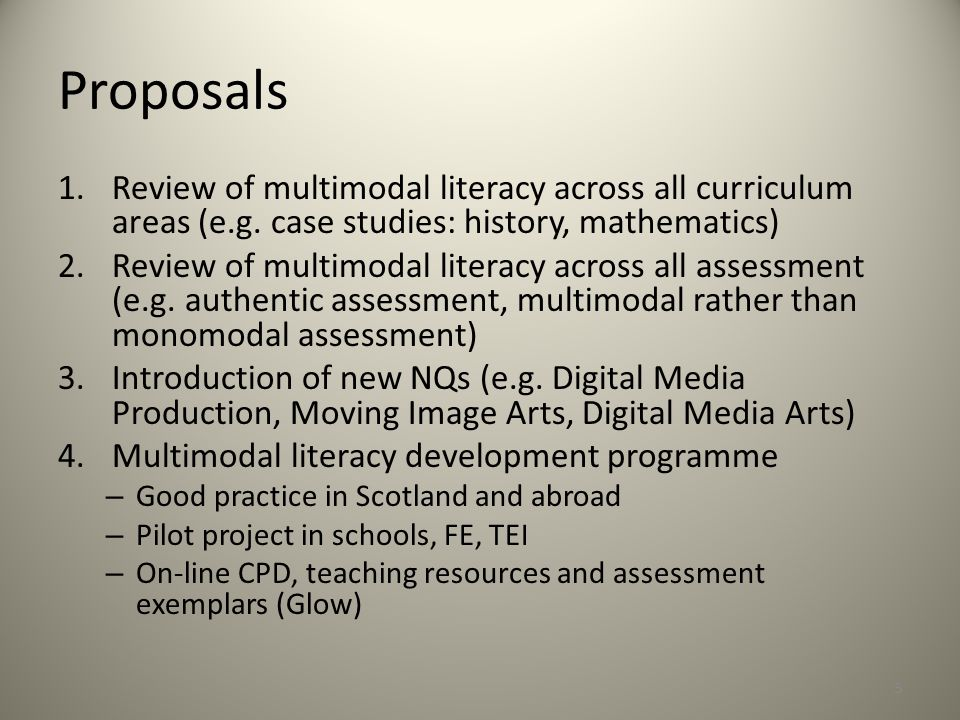 Proposals Review of multimodal literacy across all curriculum areas (e.g. case studies: history, mathematics)