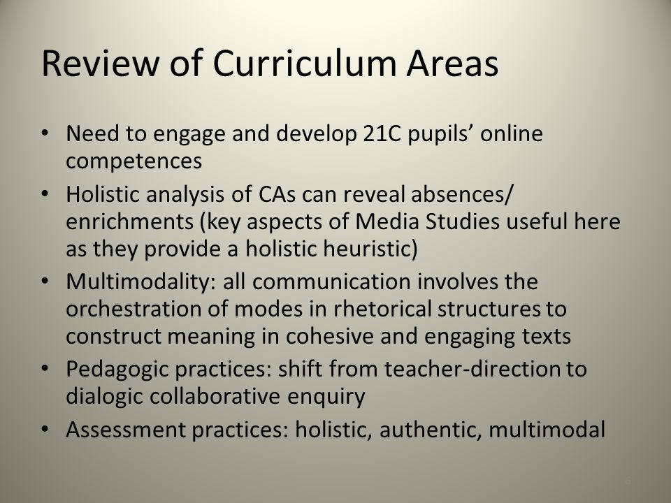 Review of Curriculum Areas