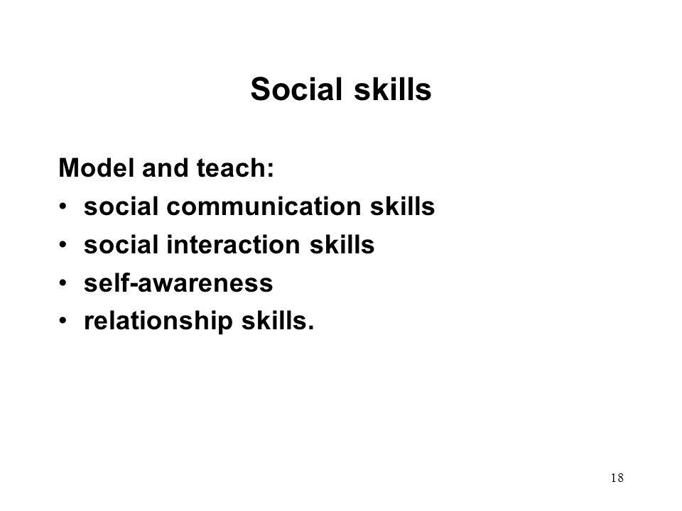 Social skills Model and teach: social communication skills