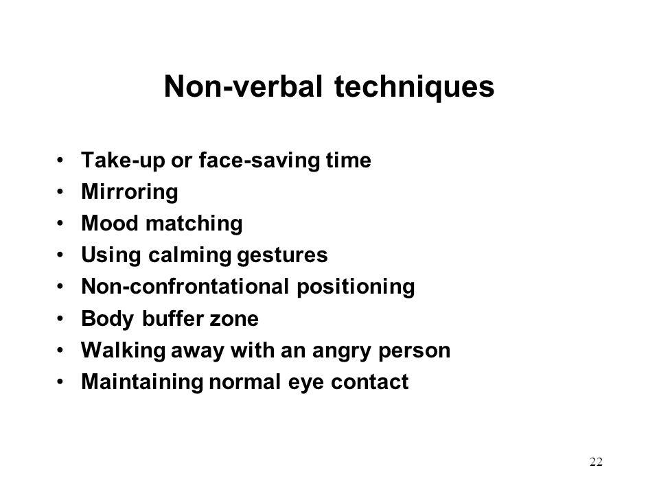 Non-verbal techniques