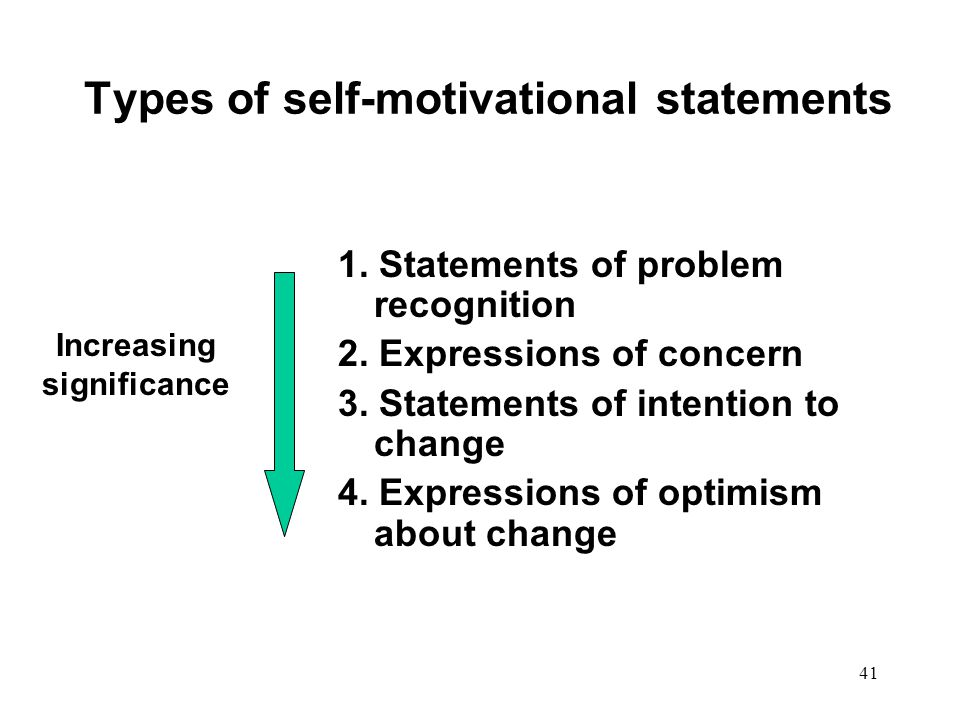 Types of self-motivational statements
