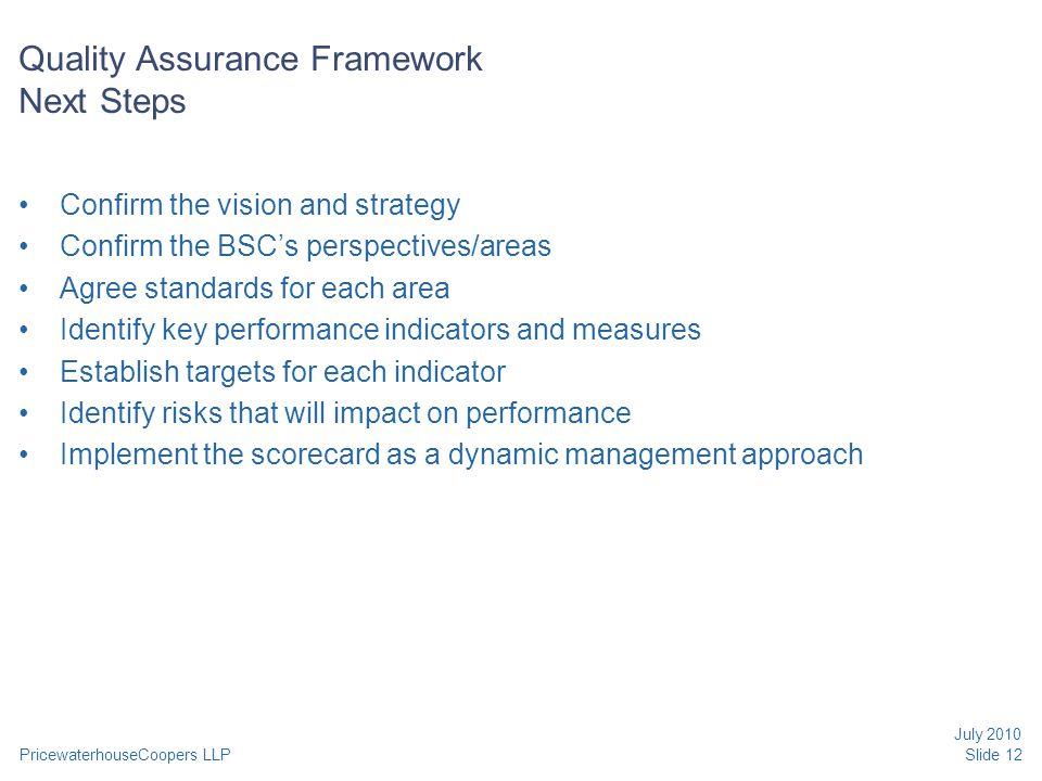 Quality Assurance Framework Next Steps