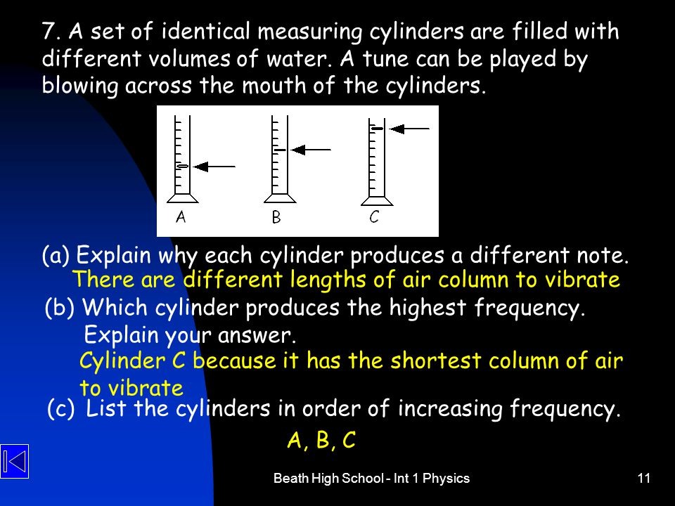 (a) Explain why each cylinder produces a different note.