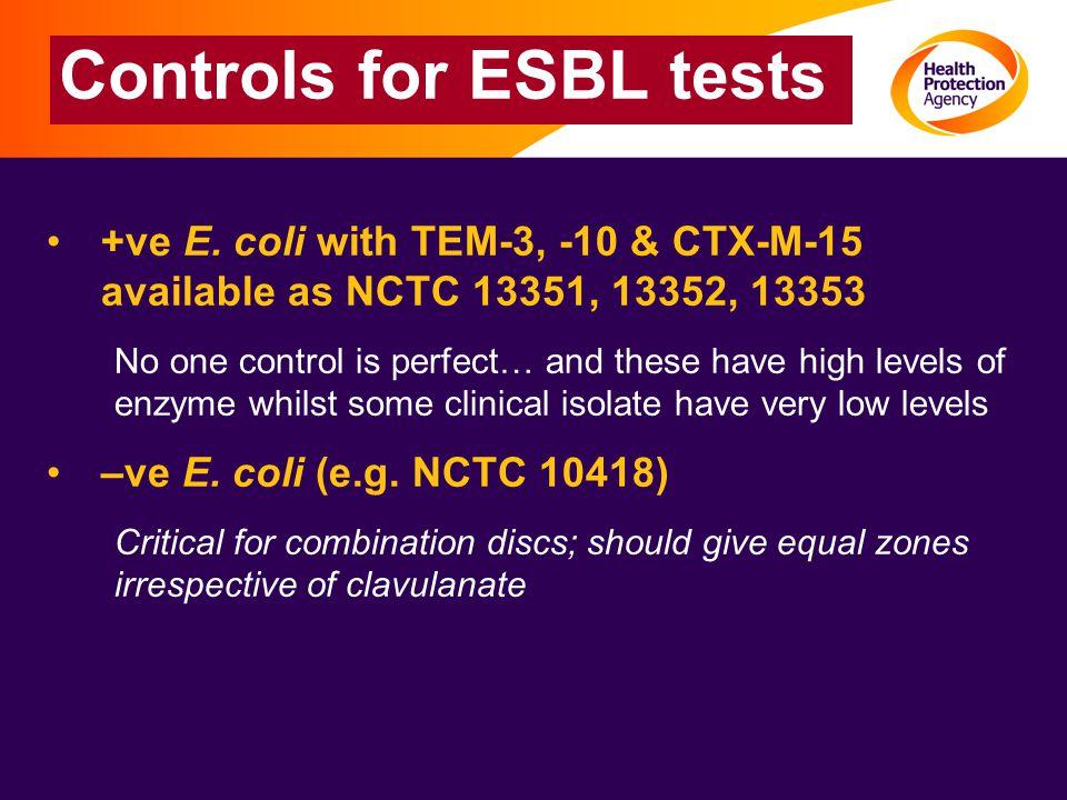 Controls for ESBL tests