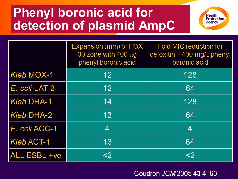 Phenyl boronic acid for detection of plasmid AmpC