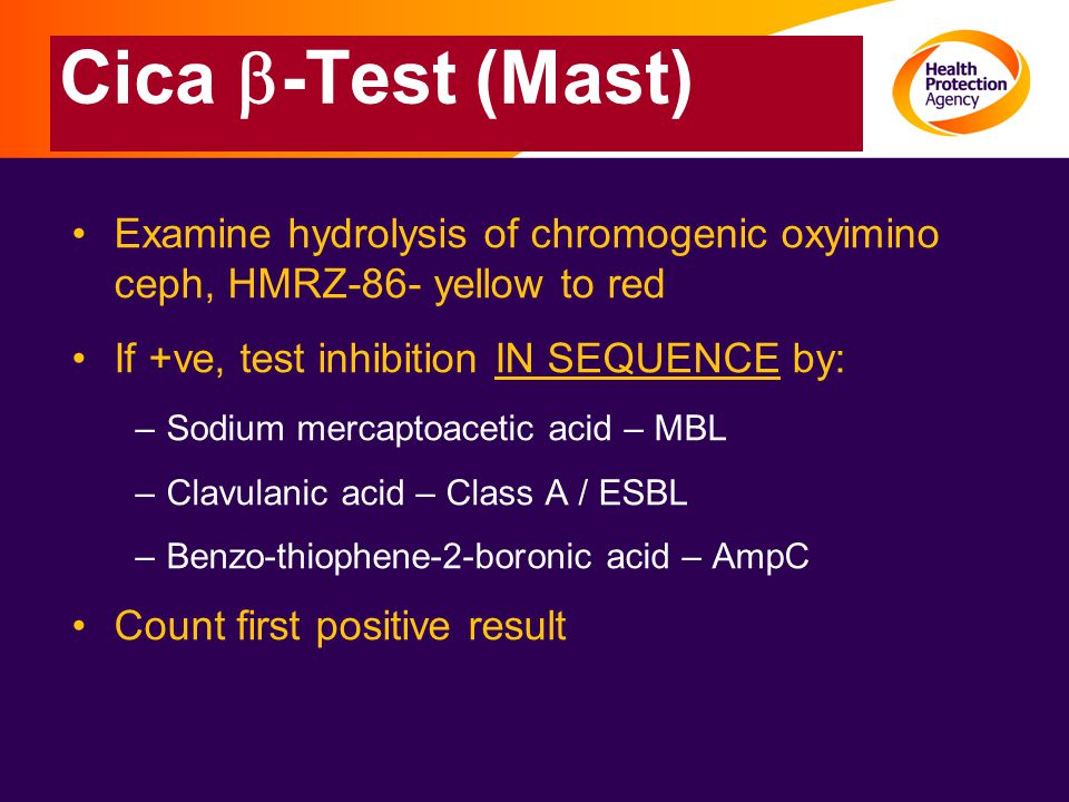 Cica b-Test (Mast) Examine hydrolysis of chromogenic oxyimino ceph, HMRZ-86- yellow to red. If +ve, test inhibition IN SEQUENCE by: