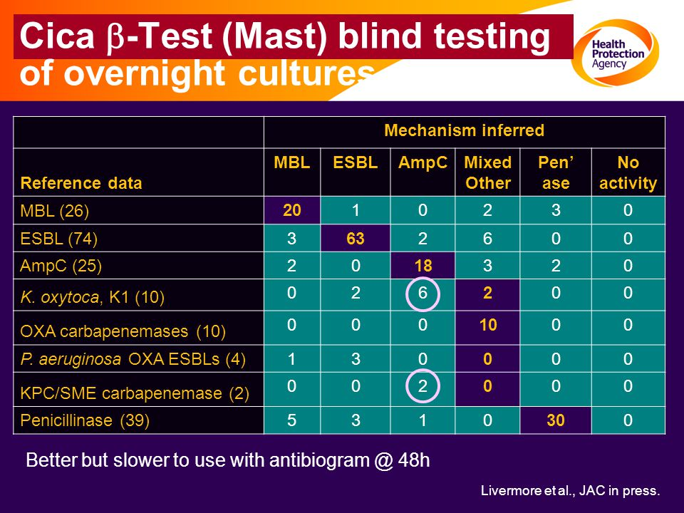 Cica b-Test (Mast) blind testing of overnight cultures