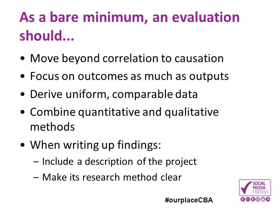 As a bare minimum, an evaluation should...