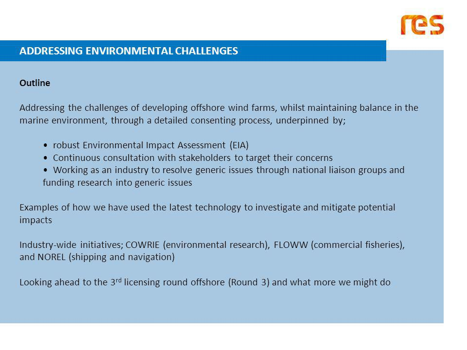 ADDRESSING ENVIRONMENTAL CHALLENGES