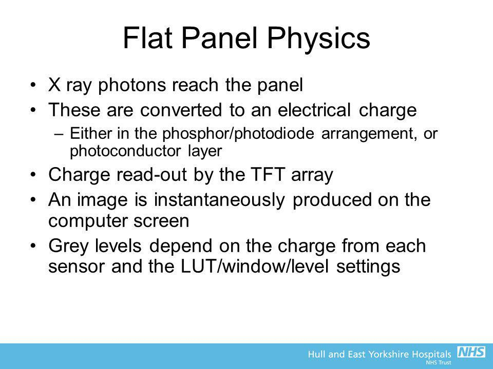 Flat Panel Physics X ray photons reach the panel