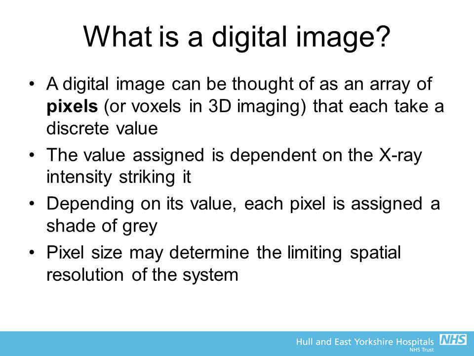 What is a digital image A digital image can be thought of as an array of pixels (or voxels in 3D imaging) that each take a discrete value.