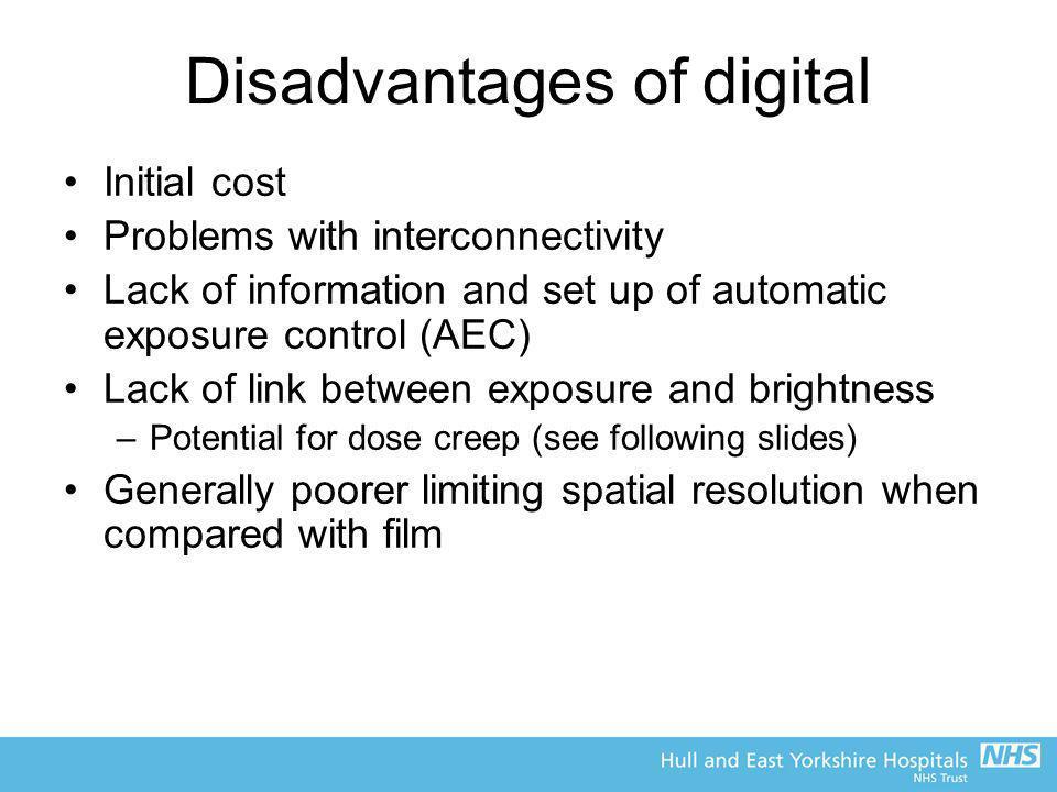 Disadvantages of digital
