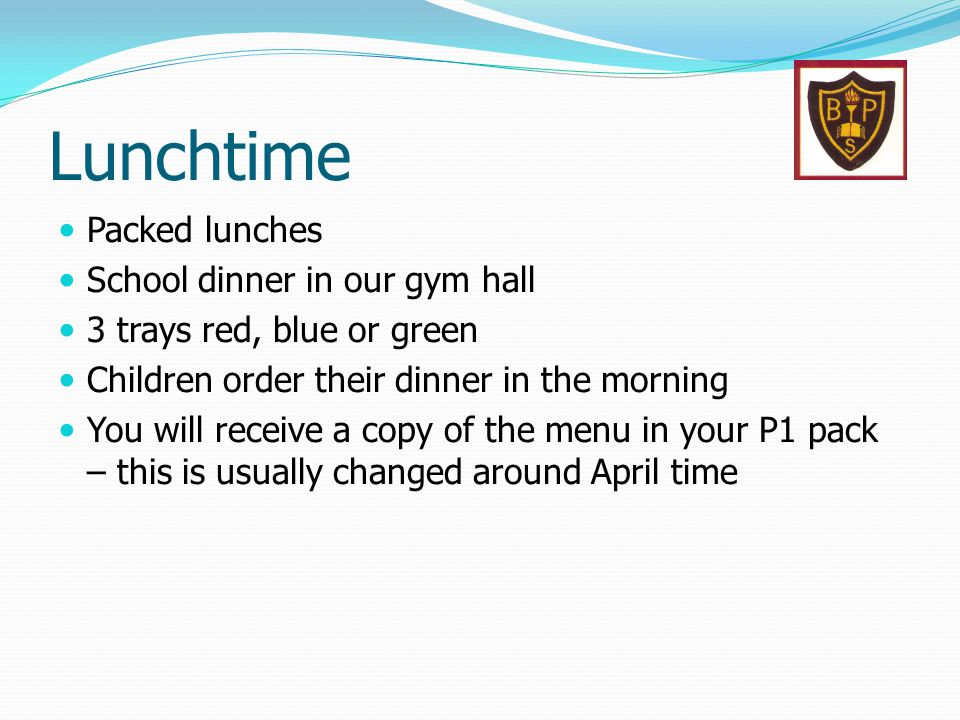 Lunchtime Packed lunches School dinner in our gym hall