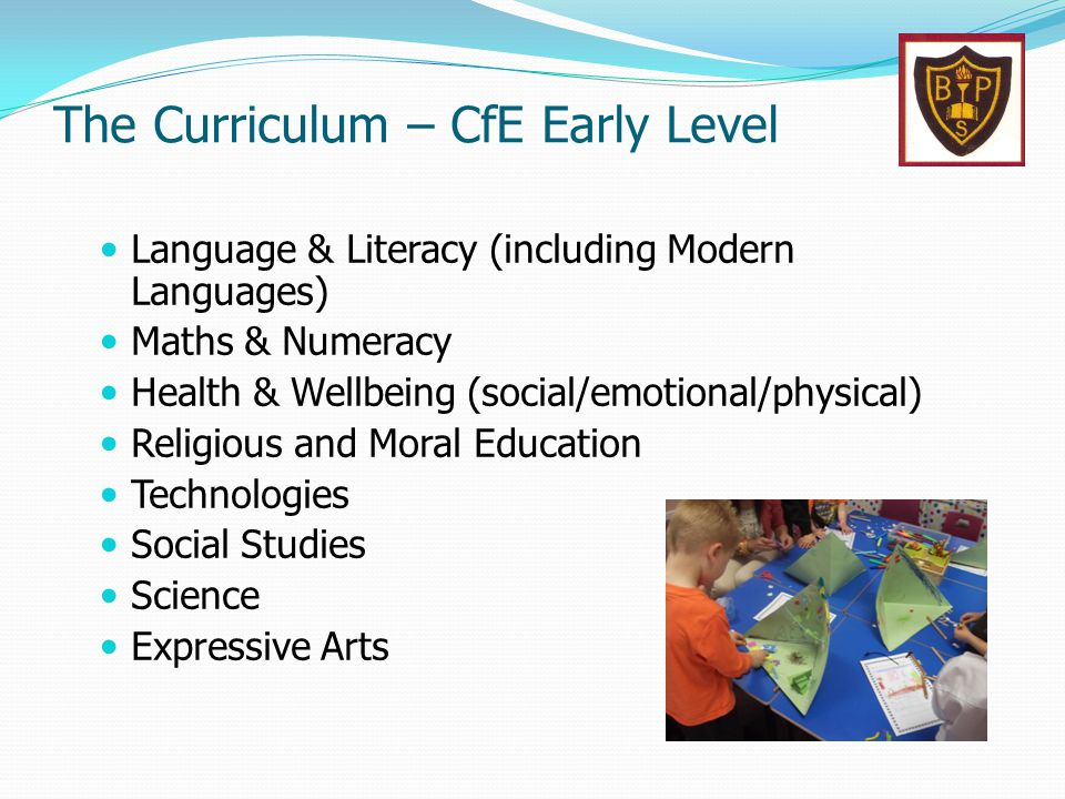 The Curriculum – CfE Early Level