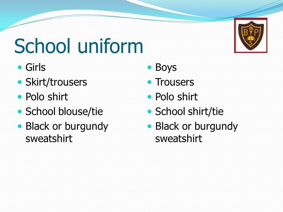 School uniform Girls Skirt/trousers Polo shirt School blouse/tie