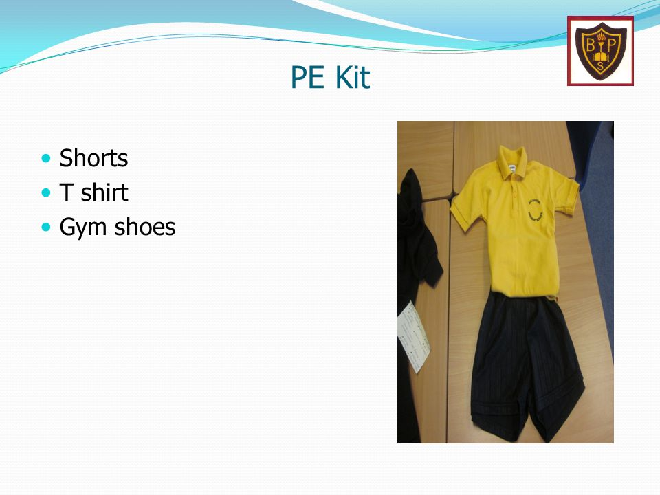 PE Kit Shorts T shirt Gym shoes