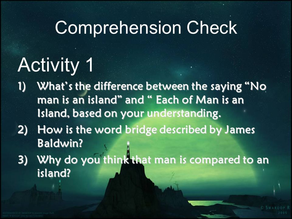 Activity 1 Comprehension Check