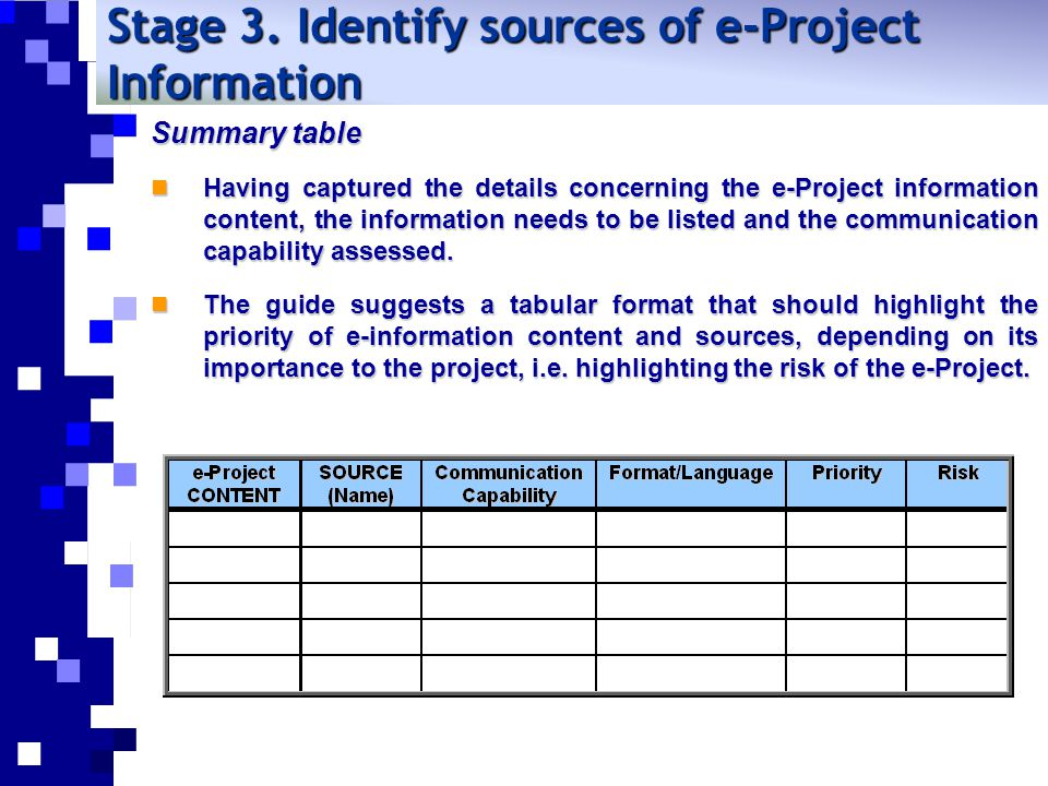 Stage 3. Identify sources of e-Project Information