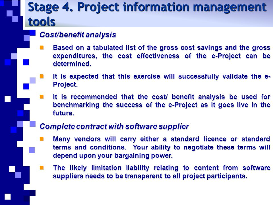 Stage 4. Project information management tools