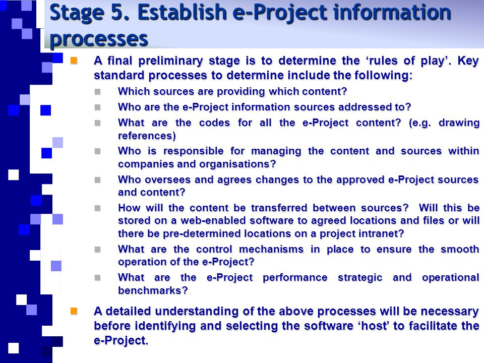Stage 5. Establish e-Project information processes