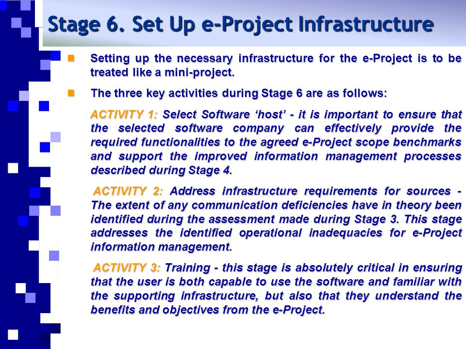 Stage 6. Set Up e-Project Infrastructure