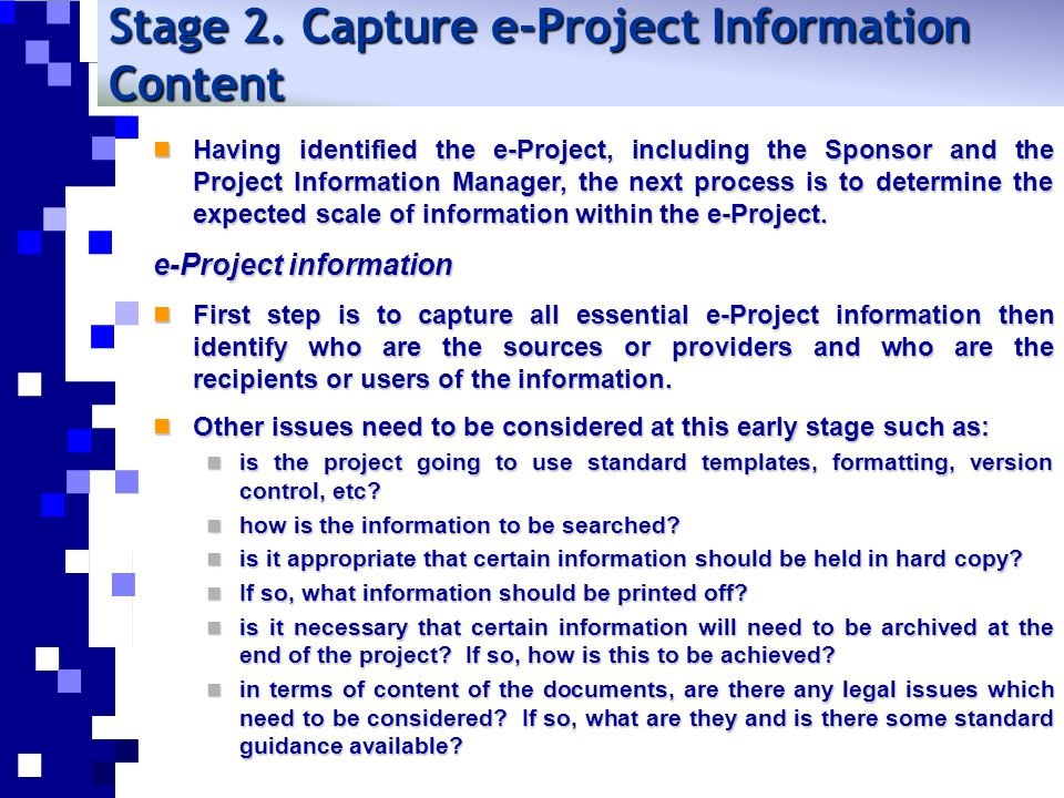 Stage 2. Capture e-Project Information Content