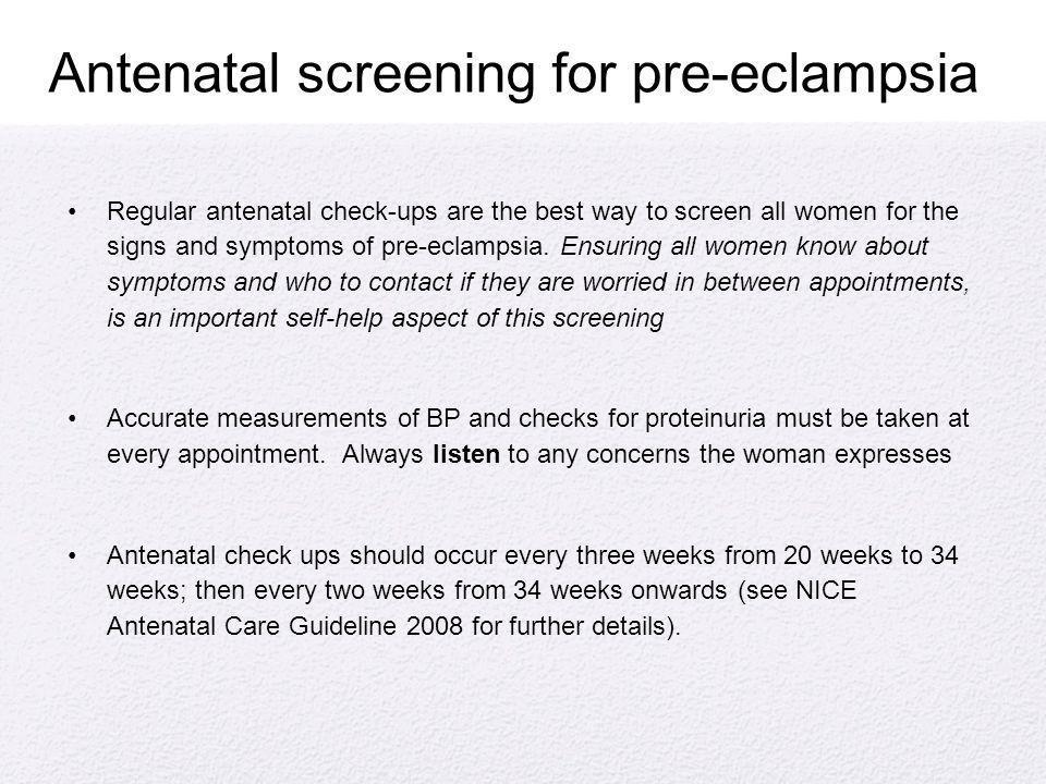 Antenatal screening for pre-eclampsia