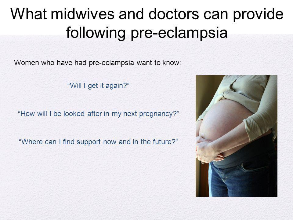 What midwives and doctors can provide following pre-eclampsia