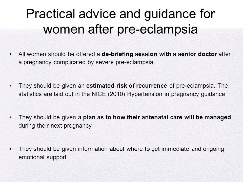 Practical advice and guidance for women after pre-eclampsia