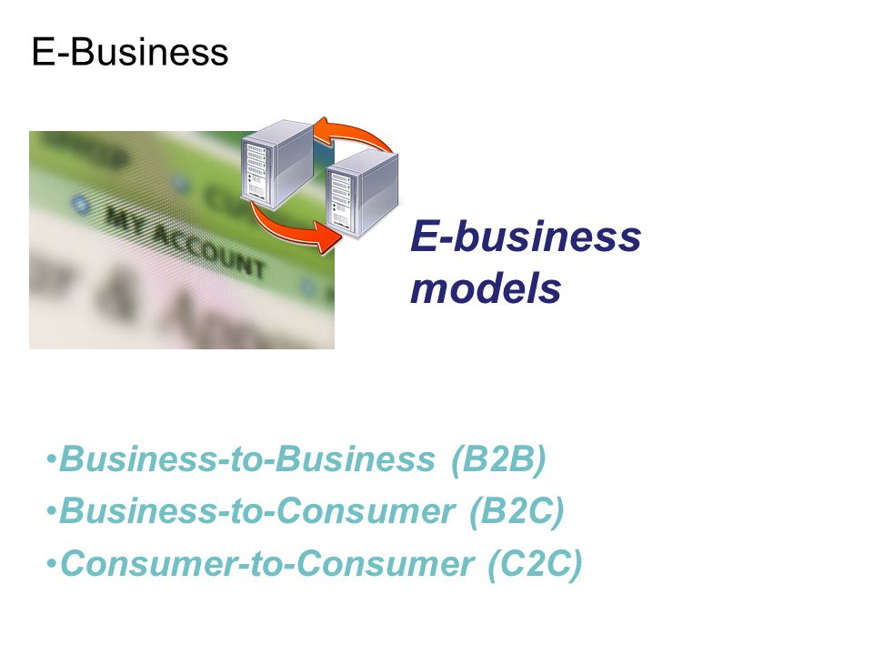 E-business models E-Business Business-to-Business (B2B)