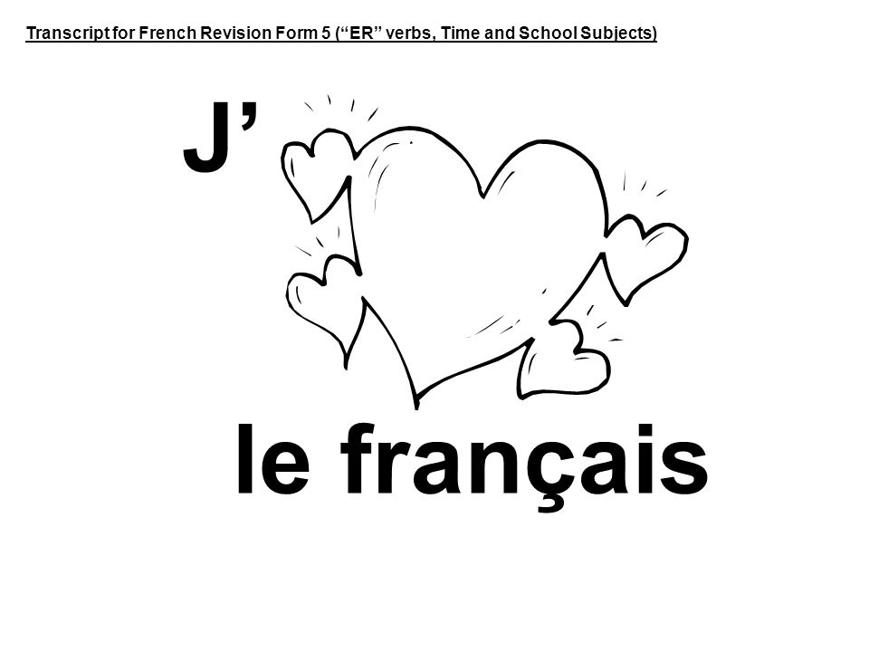 Transcript for French Revision Form 5 ( ER verbs, Time and School Subjects)