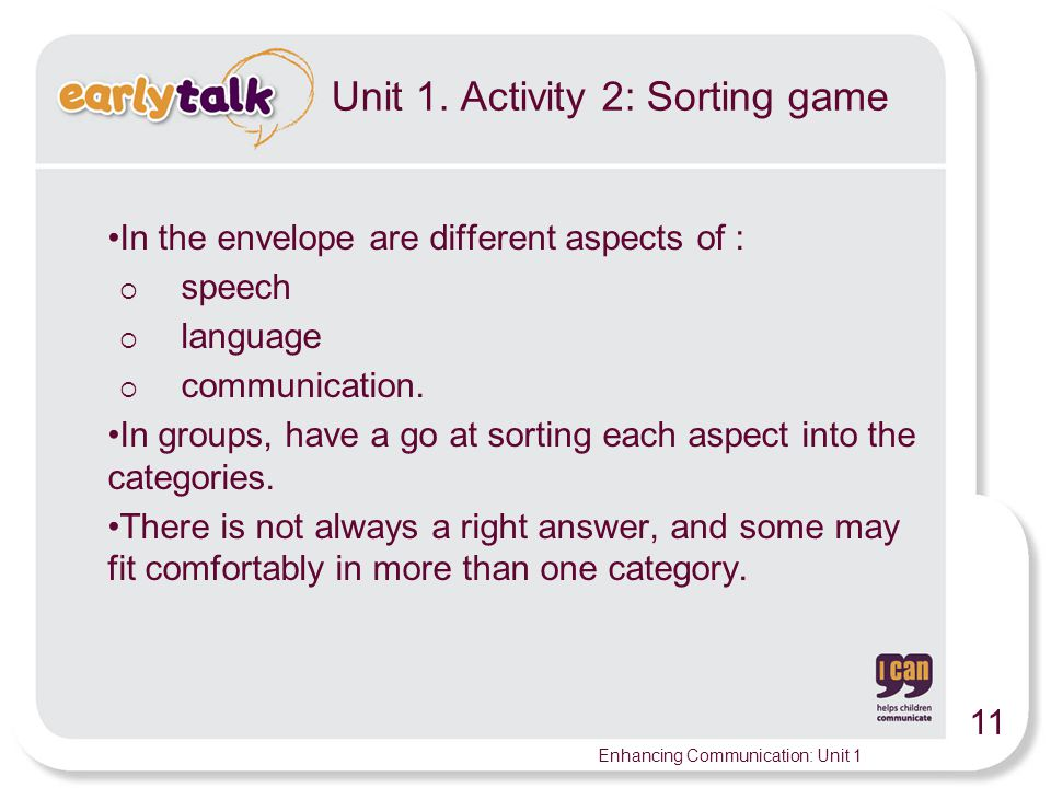 Unit 1. Activity 2: Sorting game