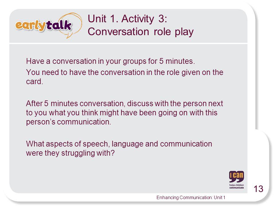 Unit 1. Activity 3: Conversation role play