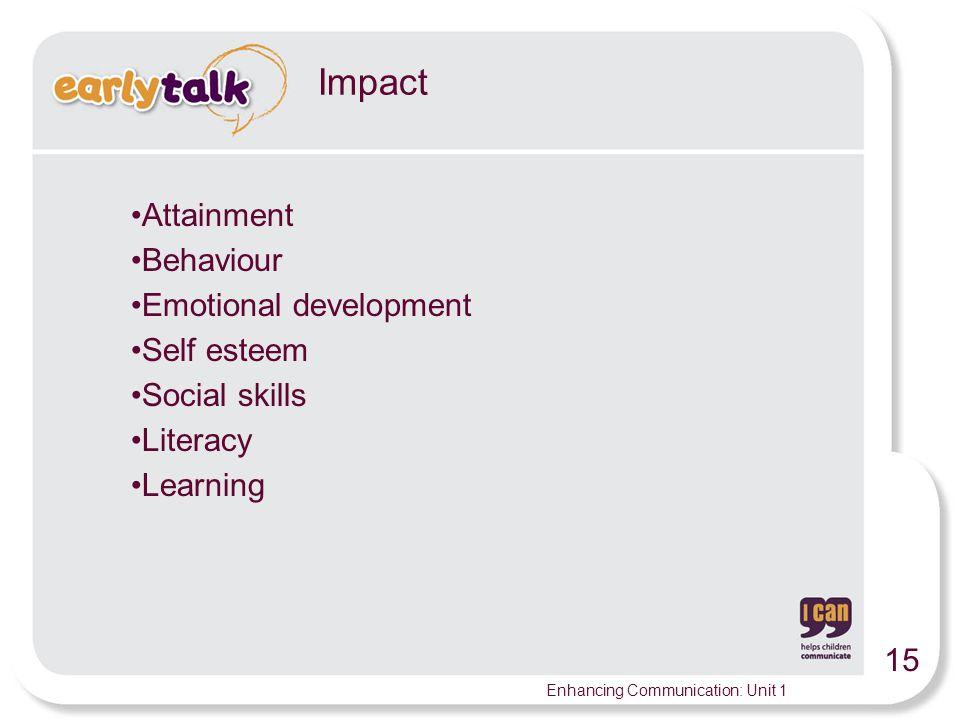 Impact Attainment Behaviour Emotional development Self esteem