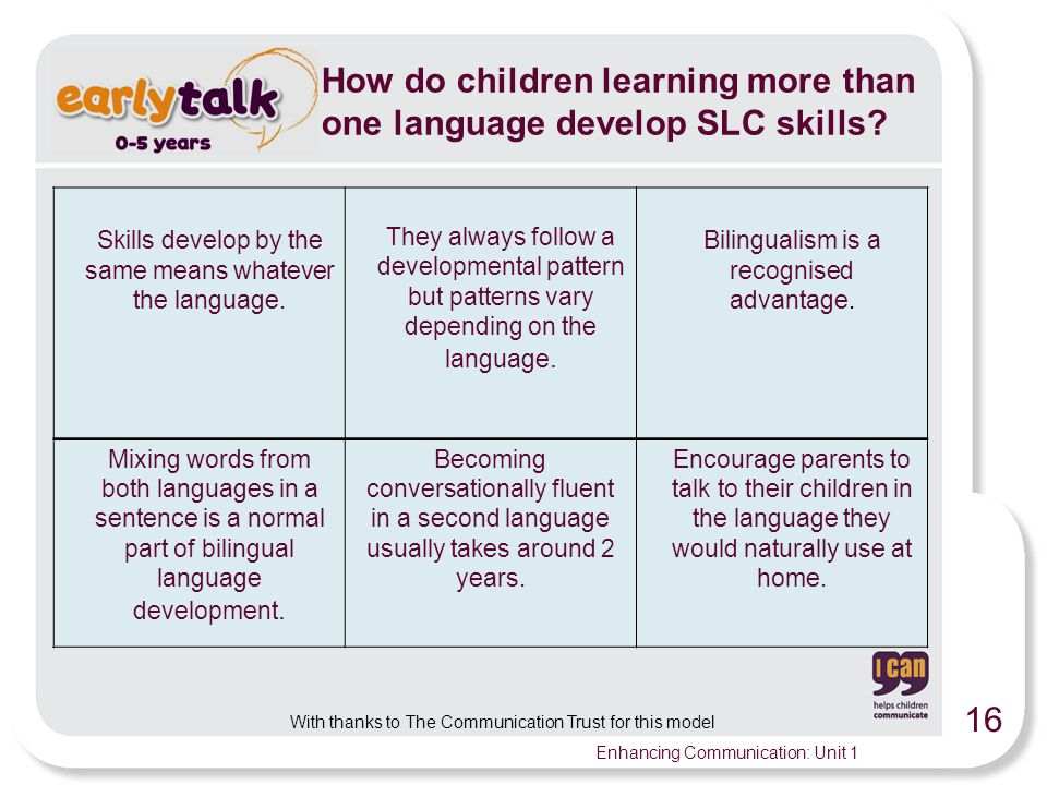 How do children learning more than one language develop SLC skills