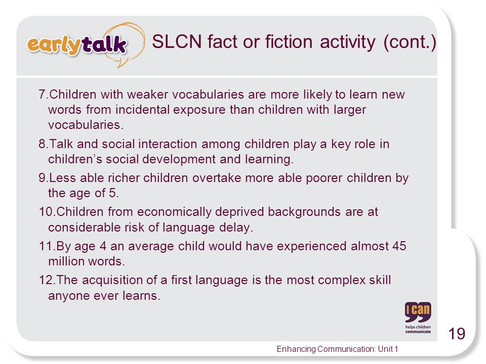 SLCN fact or fiction activity (cont.)