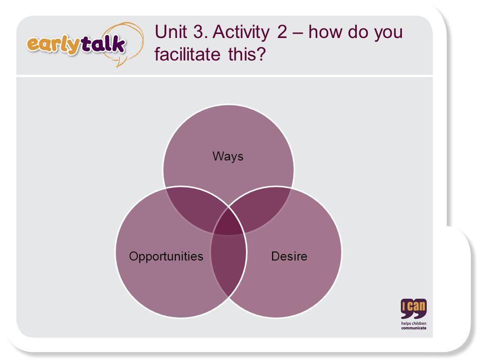 Unit 3. Activity 2 – how do you facilitate this