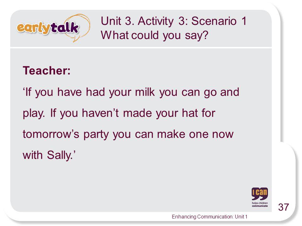 Unit 3. Activity 3: Scenario 1 What could you say