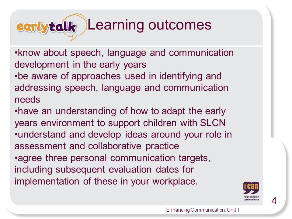 Learning outcomes know about speech, language and communication development in the early years.
