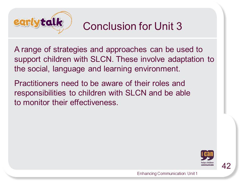 Conclusion for Unit 3