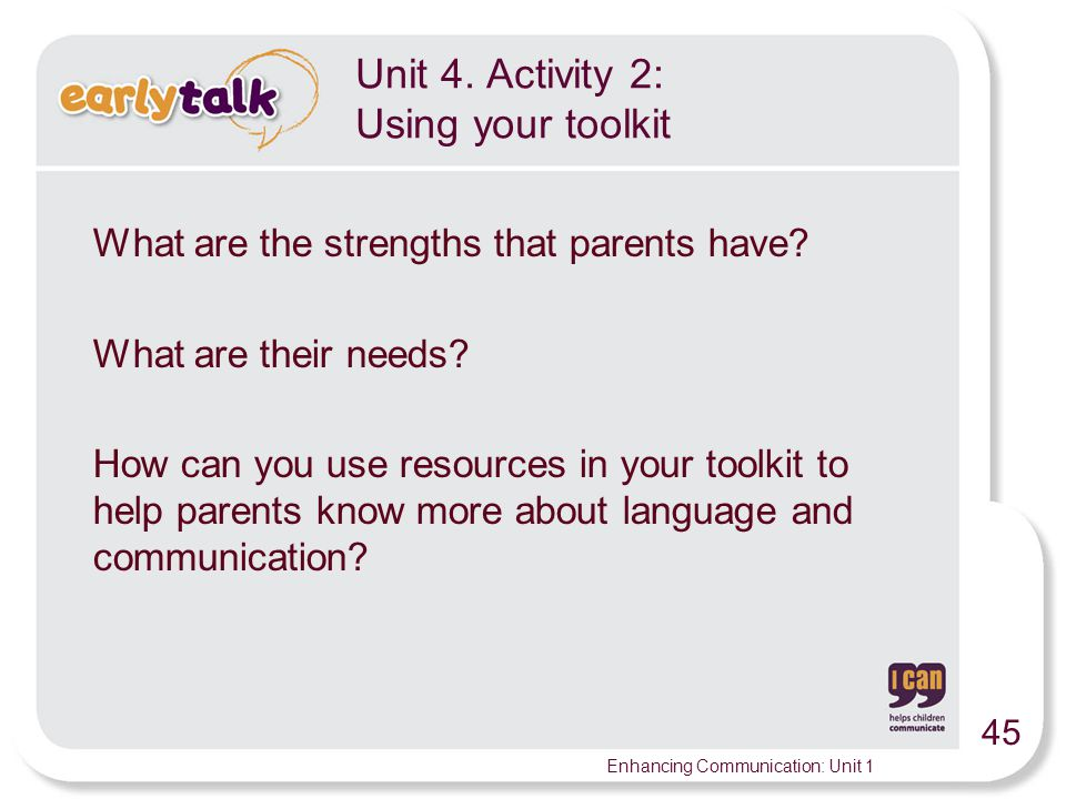 Unit 4. Activity 2: Using your toolkit