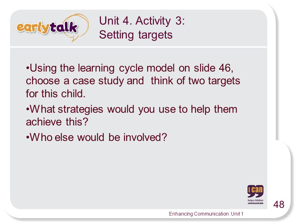 Unit 4. Activity 3: Setting targets